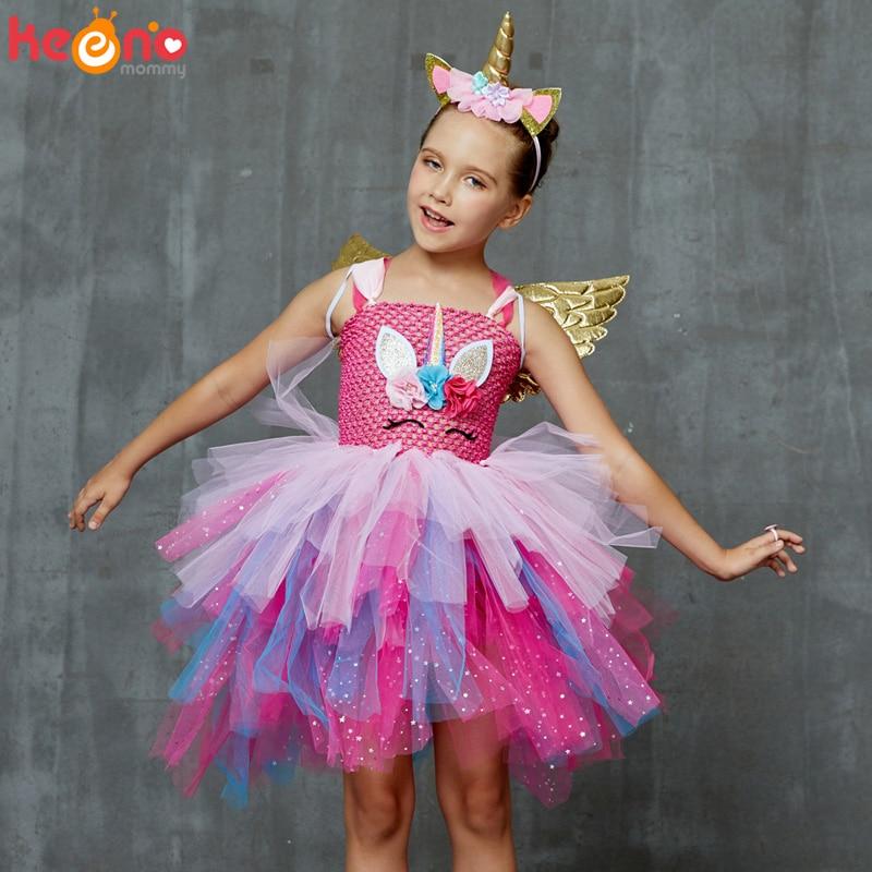 Glittery Unicorn Princess Pageant Flower Girl Tutu Dress Kids Party Costume with Headband and Wings Halloween Cosplay Girl Dress 2