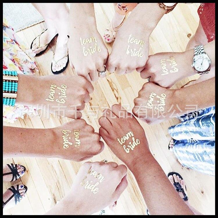 10 pces festa de solteira equipe noiva dama de honra tribo tatuagem temporária galinha noite uma vez adesivo dourado para ser fontes de casamento