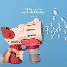 Śmieszne lato automatyczne urządzenie do baniek Bubble Maker Gun zabawki na zewnątrz dziecko mydło zestaw do baniek mydlanych karabiny maszynowe zabawki materiały ślubne tanie tanio CN (pochodzenie) MATERNITY W wieku 0-6m 7-12m 13-24m 25-36m 4-6y 7-12y Z tworzywa sztucznego Pistolet wypuszczający bańki