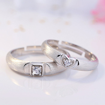 925 Sterling Silver Creative Couple Ring Opening Adjustable Zircon Silver Pair Ring wedding Anniversary Gift 2