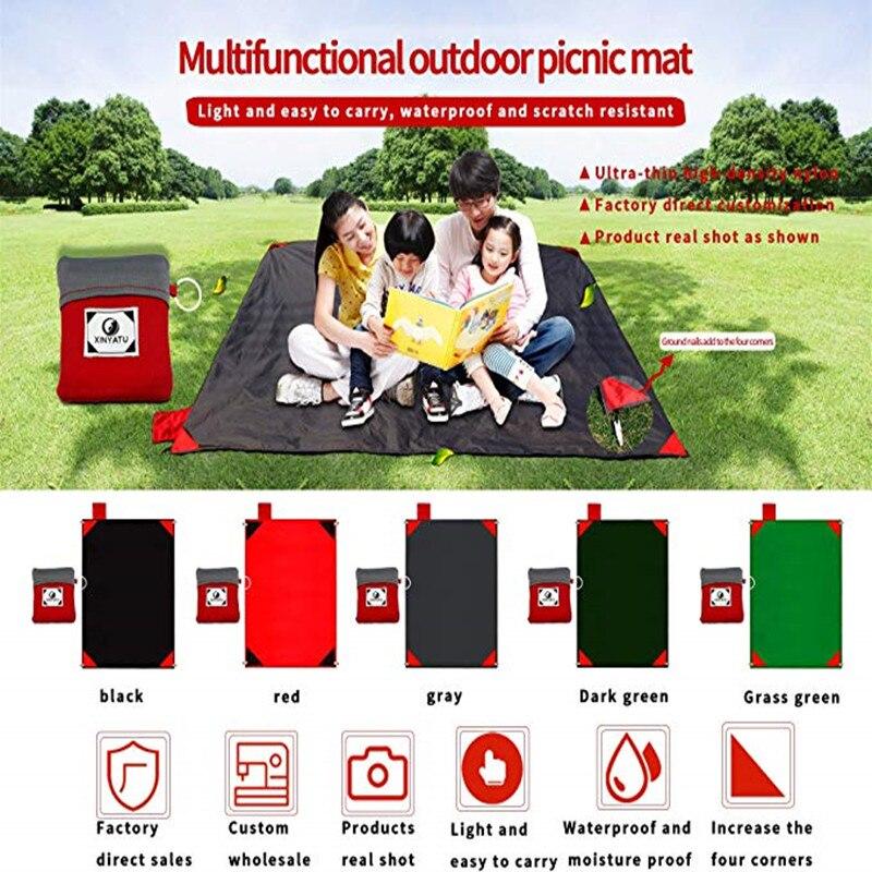 Ultra-thin Picnic Mat Portable Basket Kids Game Activity Mat Mini Beach Blanket Nylon Pocket Pad Garden Lawn Cushion Soft Fine
