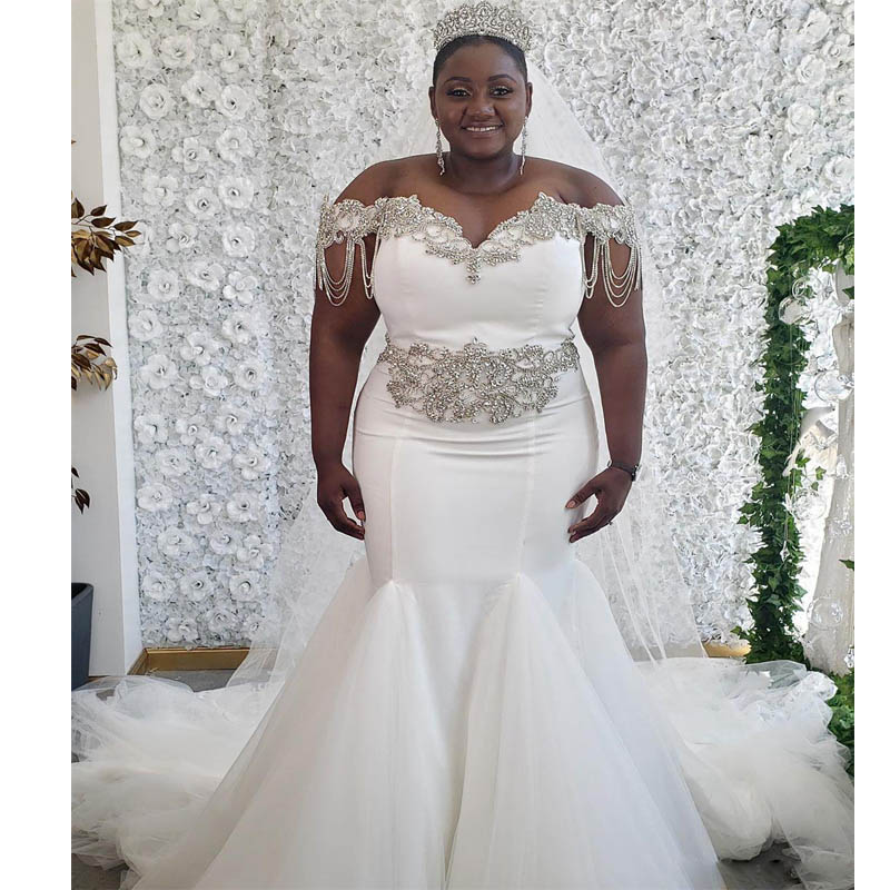 Plus Size Long Sleeves Mermaid Wedding Dress Custom South African Bride Maxi Gowns For Fat Bridal Within Train Lace Appliques Leather Bag,Steven Khalil Mermaid Wedding Dress