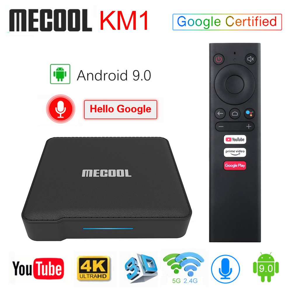 Mecool KM1 Androidtv 9.0 Google Certified Android 9.0 TV Box 4GB 64GB Amlogic S905X3 Voice Input Control Youtube 4K Set Top Box