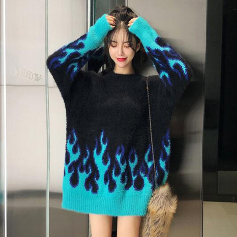 Autumn And Winter Fashion Flame Pattern Loose Long Sleeve Sweater Women