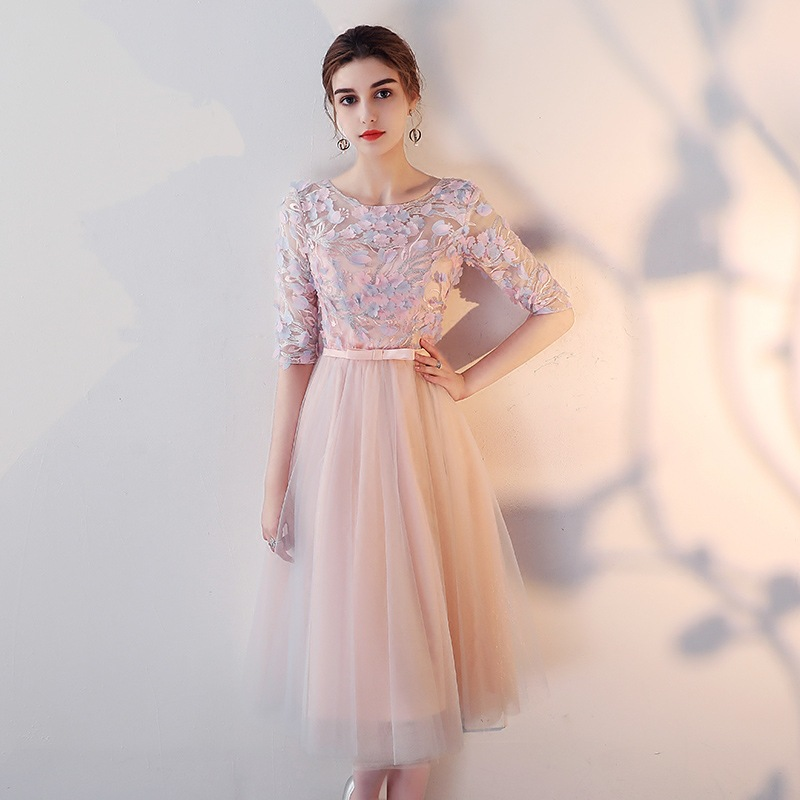 Bridesmaid Dress 2017 New Style Winter Long Sleeve Banquet Late Formal Dress Pink Sister Group Formal Dress Women's Mid-length S
