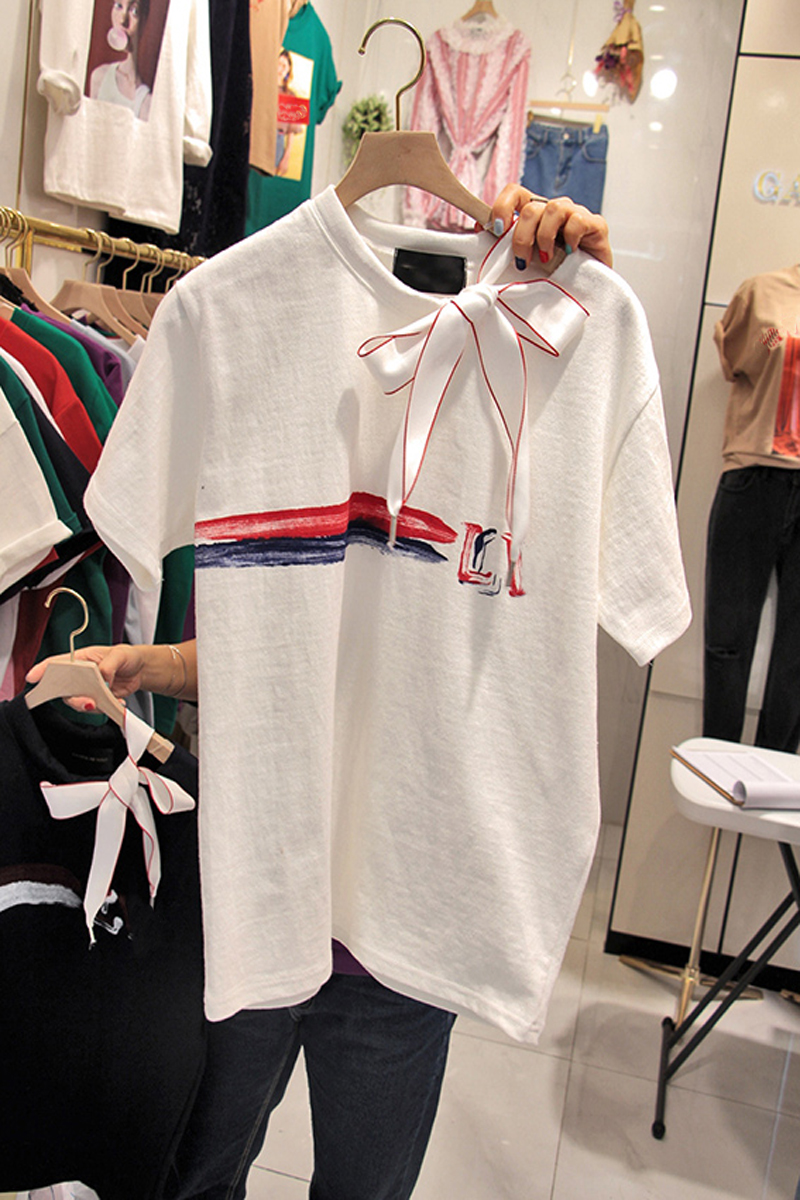 t shirt Women new Bow collar white t shirt with print Plus Size fashion T Shirts Cotton O Neck Tops letter loose streetwear