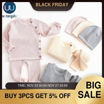 Baby Boy Girl Clothes Sets Autumn Winter Solid Newborn Baby Girl Clothing Long Sleeve Tops + Pants Outfits Casual Baby Pajamas