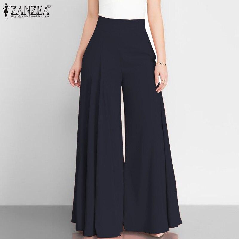 Stylish Pants Women's Wide Leg Trousers ZANZEA 2021 Casual Zip Up High Waist Long Pantalon Palazzo Female Solid Turnip Plus Size