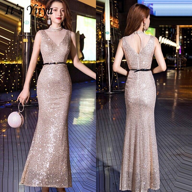 It's YiiYa Evening Dress Long Sleeveless V-neck Formal Dresses For Women Elegant Mermaid Sequins Formal Gowns Plus Size K129