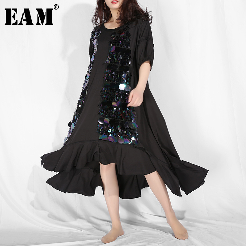 [EAM] 2020 New Spring Summer Round Neck Short Sleeve Black Sequins Hem Ruffels Big Size Long Dress Women Fashion Tide JR7550