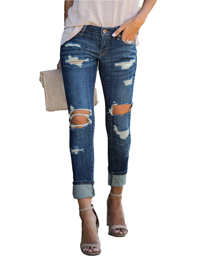 2020 Spring Summer Fashion High Waist Ripped Hole Jeans Women Slim  Elastic Skinny Denim Pants Vintage Casual Calca Jeans Pants