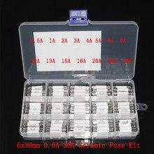 75 Uds fusible de cerámica 6*30mm 0.5A 1A 2A 3A 4A 5A 6A 8A 10A 13A 15A 16A 20A 25A 30A fusible Kit de surtido de 6x30mm seguro fusibles de tubo
