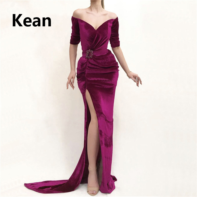 Purple Muslim Evening Dress Velour Off The Shoulder Mermaid Slit Islamic Dubai Kaftan Saudi Arabic Evening Gown Prom Dress