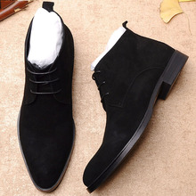 цены Brand New Genuine Cow Leather Men Boots Suede Men Fashion Ankle Boot Shoes Fashion Lace Up Men Casual Dress Boot