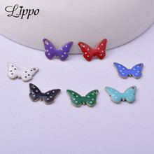 Butterfly Pendant Charms Jewelry-Making Animal Copper-Enamelled Diy 30pcs Both-Side 10--14mm