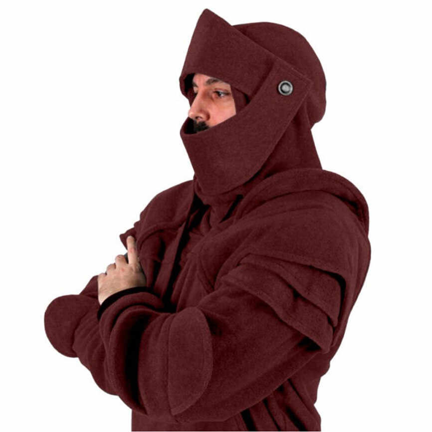 2019 hombres invierno Vintage máscara codo botón Pullover cremallera chaqueta manga larga Sudadera con capucha ropa Casual tapas abrigo