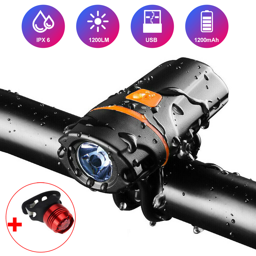 LED <font><b>Bicycle</b></font> <font><b>Light</b></font> IPX6 Waterproof USB Rechargeable <font><b>Bike</b></font> Front <font><b>Light</b></font> Flashlight <font><b>Bicycle</b></font> Rear Lantern <font><b>Cycling</b></font> <font><b>Headlight</b></font> <font><b>Torch</b></font> <font><b>Lamp</b></font> image