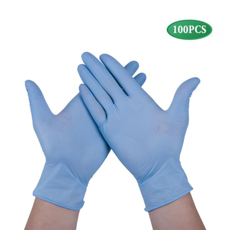 High Quality 100 Pcs Disposable Nitrile Gloves, Non-Toxic, Food Safe, Allergy Free For Food Beauty Household Industrial Blue XL