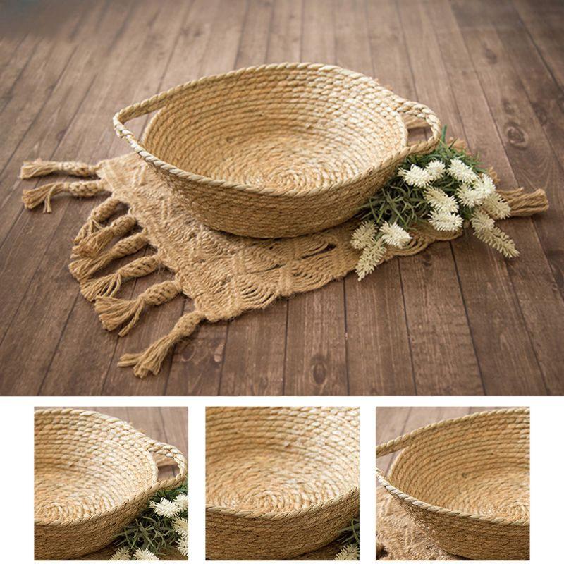 New Cute Newborn Baskets Photography Props Woven Basket Baby Boys Girls Photo Shooting Basin