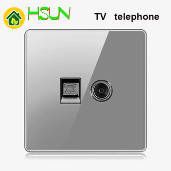 High-grade 1 2 3 4 gang 1 2 way big panel Grey switch socket Type 86 Wall 2.5D Cambered Mirror Toughened glass Computer TV 7