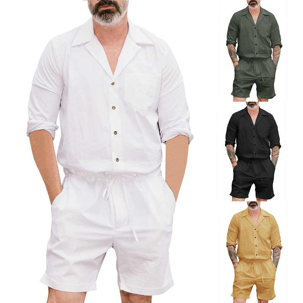 Casual Manica Lunga Accappatoio Camicia Coulisse shorts Tuta Degli Uomini di Colore Solido Pagliaccetto Accappatoio