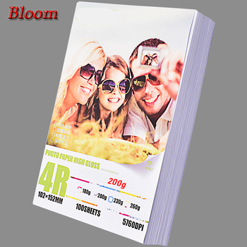 Papier fotograficzny do drukarek atramentowych z 100 arkuszy błyszczący papier 4R 4 #215 6 do wszystkich modeli drukarek tanie i dobre opinie BLOOM 51-100 Sheets Package Single side HP Epson Canon Brothers Inkjet Printer Photo china BL-2223 200g 102*152