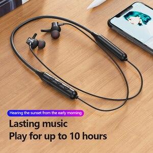 Image 5 - מגנטי אלחוטי Bluetooth 5.0 אוזניות Neckband סטריאו אוזניות דיבורית עמיד למים אוזניות עם מיקרופון Bluetooth אפרכסת