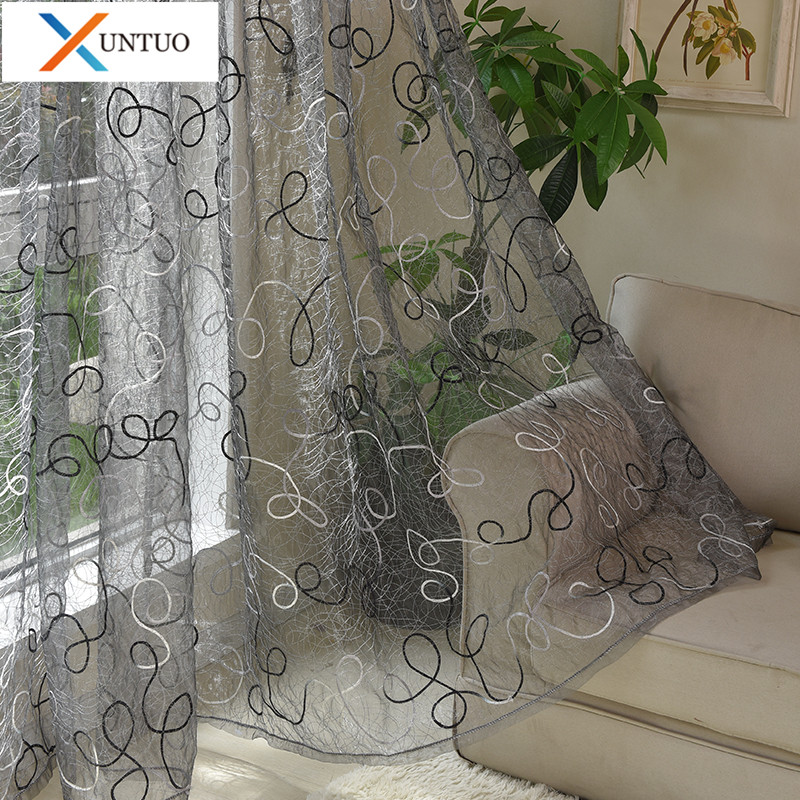 Modern Embroidered Tulle Curtains for Living Room Bedroom Voile Curtains in the Kitchen for Window Treatment Fabric Drapes
