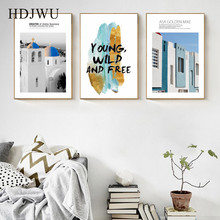 Simple Nordic Canvas Painting Wall Picture Building Home Printing Posters Pictures for Living Room  AJ00370