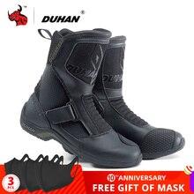 DUHAN Botas de Moto para hombre, calzado de superfibra para carreras de carretera, Motocross, negro