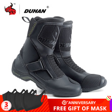 DUHAN Motorcycle Boots Men Botas Moto Superfiber Motorcycle Road Racing Shoe Moto Motocross Boots Bota Motociclista Black