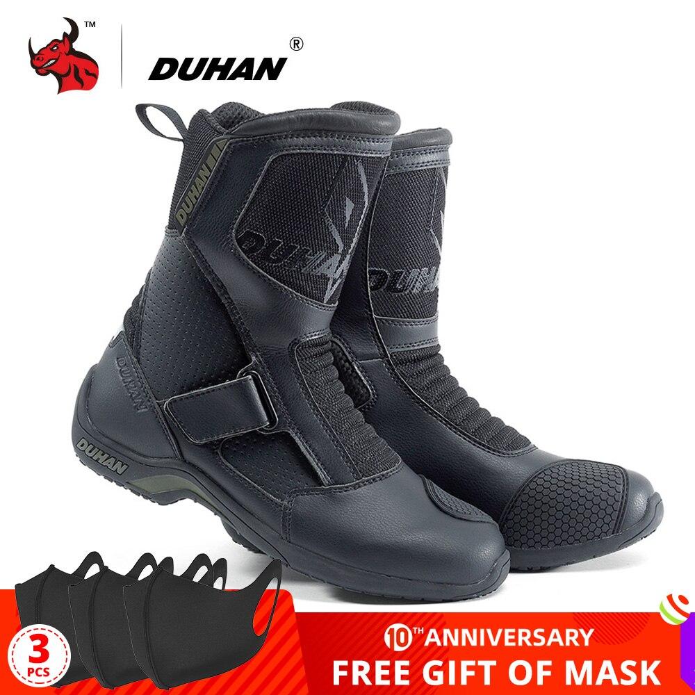 DUHAN buty motocyklowe mężczyźni Botas Moto Superfiber motocykl wyścigi drogowe buty Moto buty motocrossowe Bota Motociclista czarny