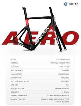 "T1000 Carbon Road Bike Frame UD BSA Bicycle Carbon Frame Road Di2 And Mechanism XXS XS S M L Frameset 1-1/8"" 1-1/2"" OG-EVKIN 1"