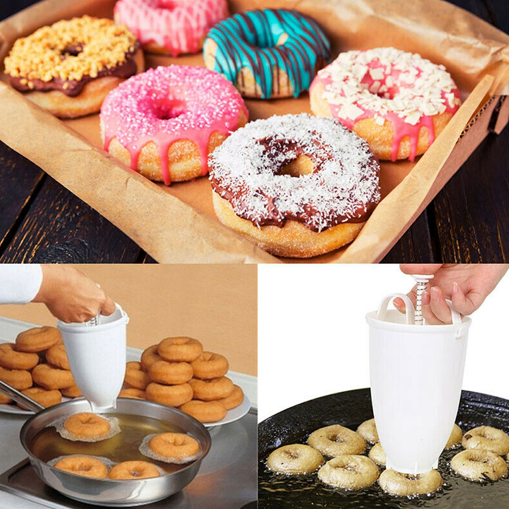 Plastic Donut Maker Dispenser Doughnut Maker Artifact Fry Donut Mould Arabic Waffle Doughnut Cake Mould Kitchen Pastry Tool image