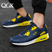 QGK New Men Casual Shoes Breathable Comfortable Fashion Air Cushion Lace-up Sneakers Lightweight Walking