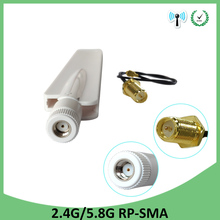 10pcs 2.4g 2.4GHz 5GHz 5.8Ghz Antenna real 8dBi RP-SMA Dual Band wifi Antena aerial SMA female +21cm RP-SMA Pigtail Cable aomway fpv 12dbi 5 8g helical antenna sma rp sma