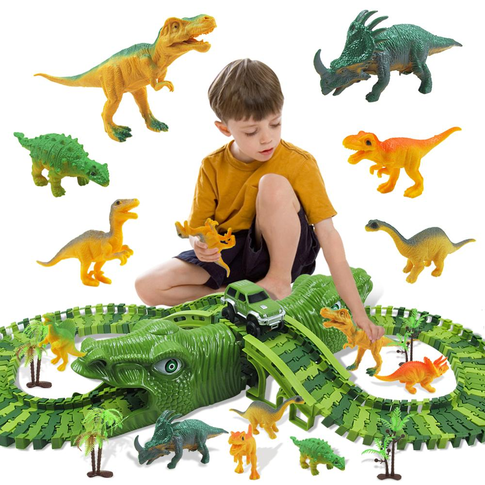 153Pcs New Cool Dinosaur Race Track Road Railway Magical Racing Track Set Toy Bend Flexible Diecast Vehicle Toys For Children