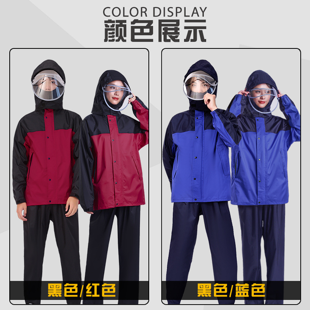 Thickened Nylon Motorcycle Raincoat Women Jackets Waterproof Male Rain Pants Rain Coat Men Poncho Split Rainwear Impermeable 3