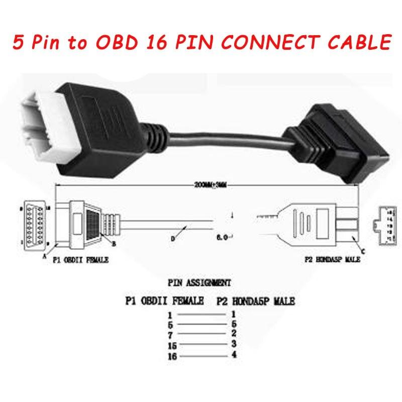 5 Pin to 16 Pin OBD2 Converter Cable Diagnostic Adapter OBD Connectors For Honda