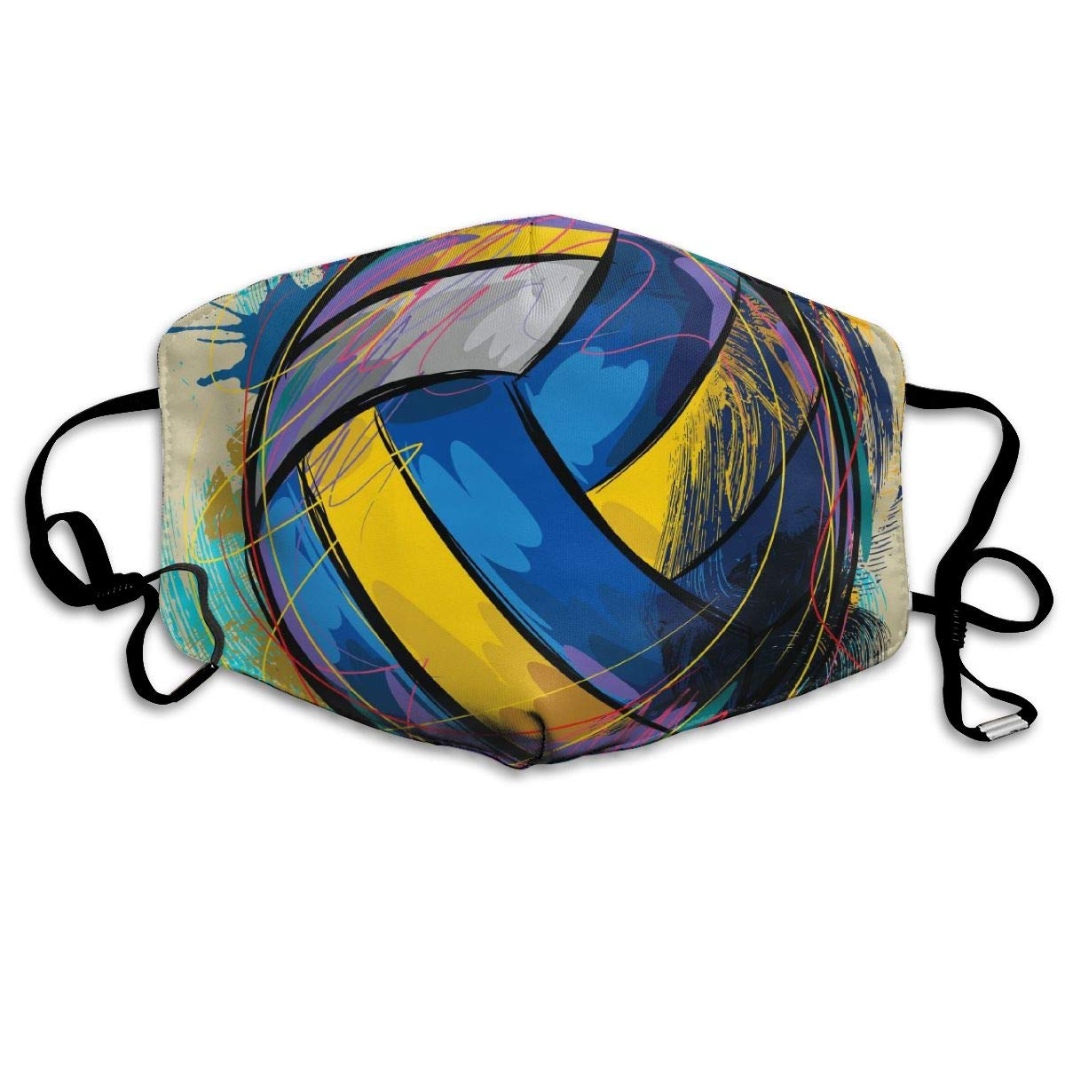 Special Colorful Volleyball Washable Reusable   Mask, Cotton Anti Dust Half Face Mouth Mask For Kids Teens Men Women With