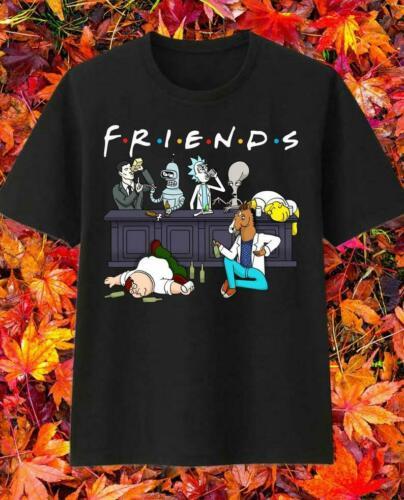 Friends Rick And Morty Simpson Cartoon Drink Wine Halloween T- Shirt Unisex Tee Men Women Unisex Fashion Tshirt Free Shipping