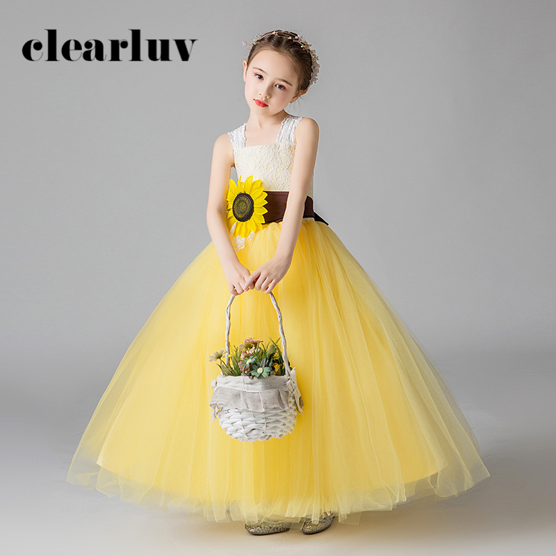 Flower Girl Dresses For Weddings B065 Yellow Lace Square Collar Girls Princess Dresses New Spaghetti Straps Kids Party Ball Gown