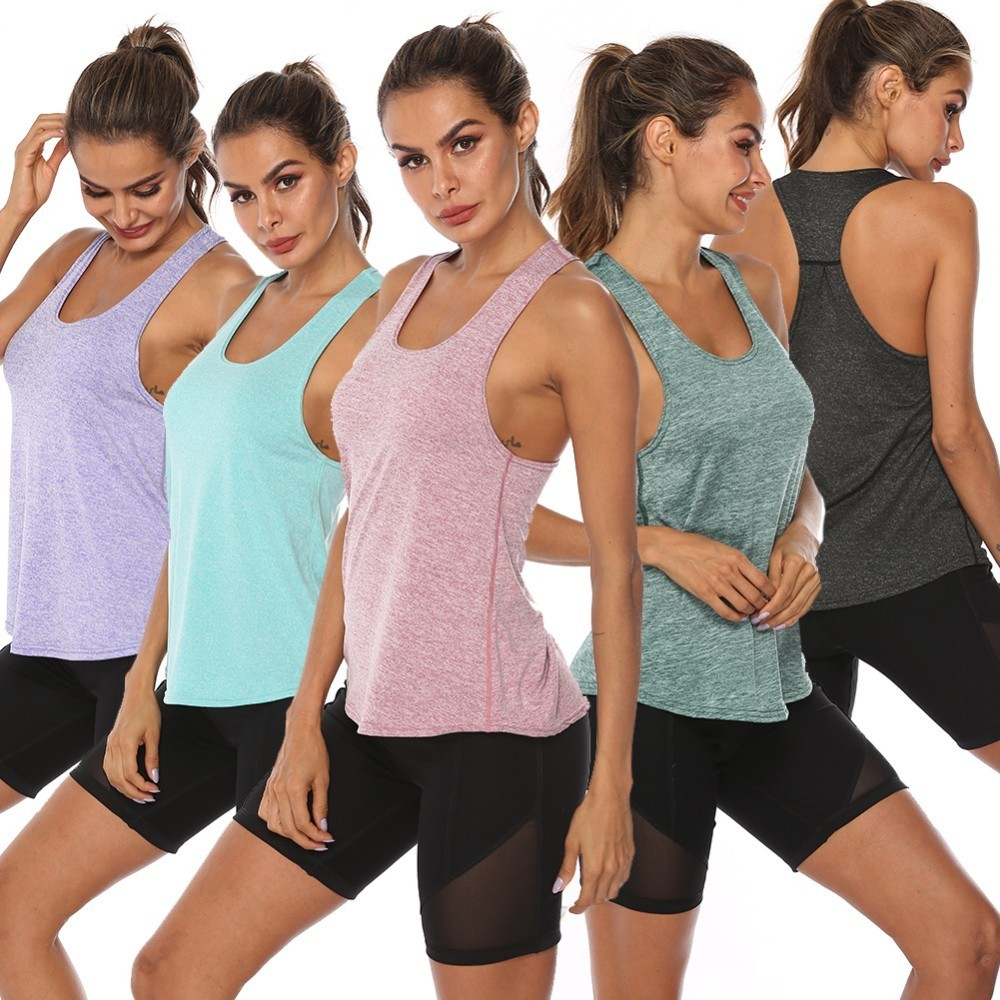 Women Racerback Yoga Tank Tops Sleeveless Fitness Yoga Shirts Quick Dry Athletic Running Sports Vest Workout T Shirt
