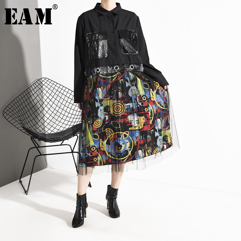 [EAM] Women Mesh Pattern Split Big Size Shirt Dress New Lapel Long Sleeve Loose Fit Fashion Tide Spring Autumn 2020 1D97601
