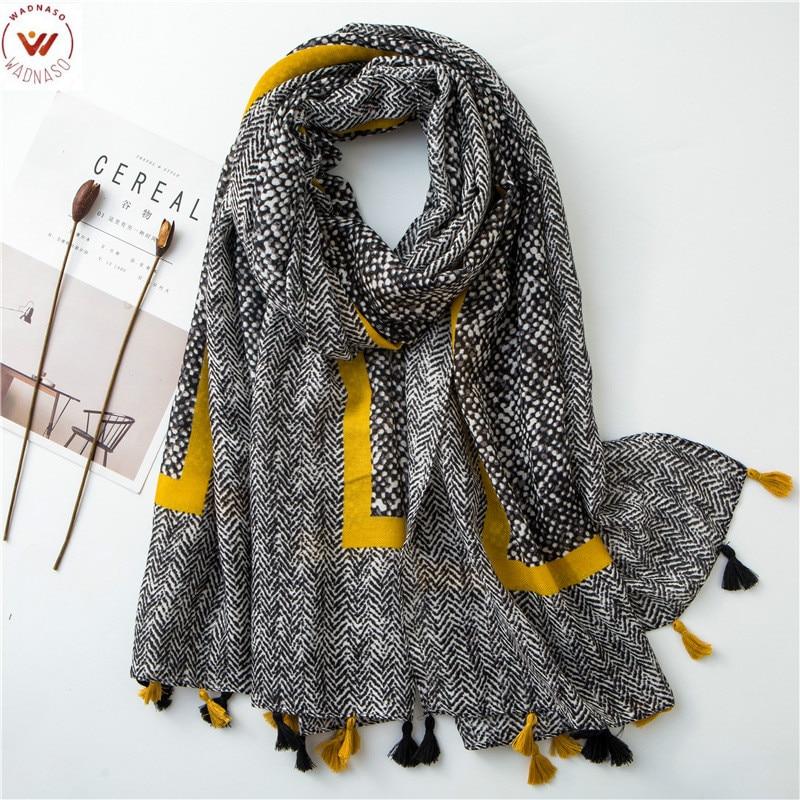 Winter Real Rushed 2019 Ladies Fashion Aztec Tassel Viscose Shawl Women High Quality   Wrap   Bufanda Muslim Hijab Snood 180*100cm