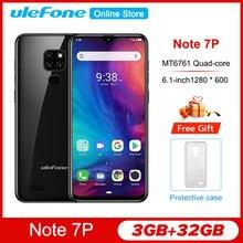Ulefone Note 7P 6.1 pouces Smartphone Android 9.0 Quad Core 3500mAh Waterdrop écran 3GB + 32GB téléphone portable
