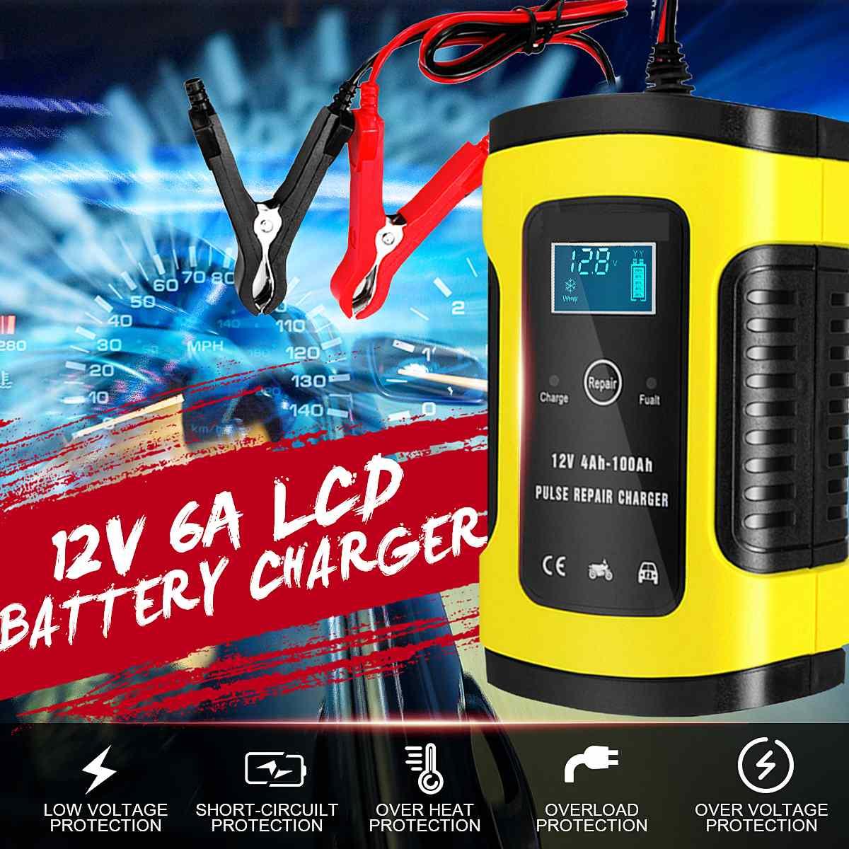 Affichage LCD 110-220V à 12V 6A chargeur de batterie de voiture entièrement automatique chargeurs de réparation d'impulsion de puissance chargeur de batterie intelligent au plomb
