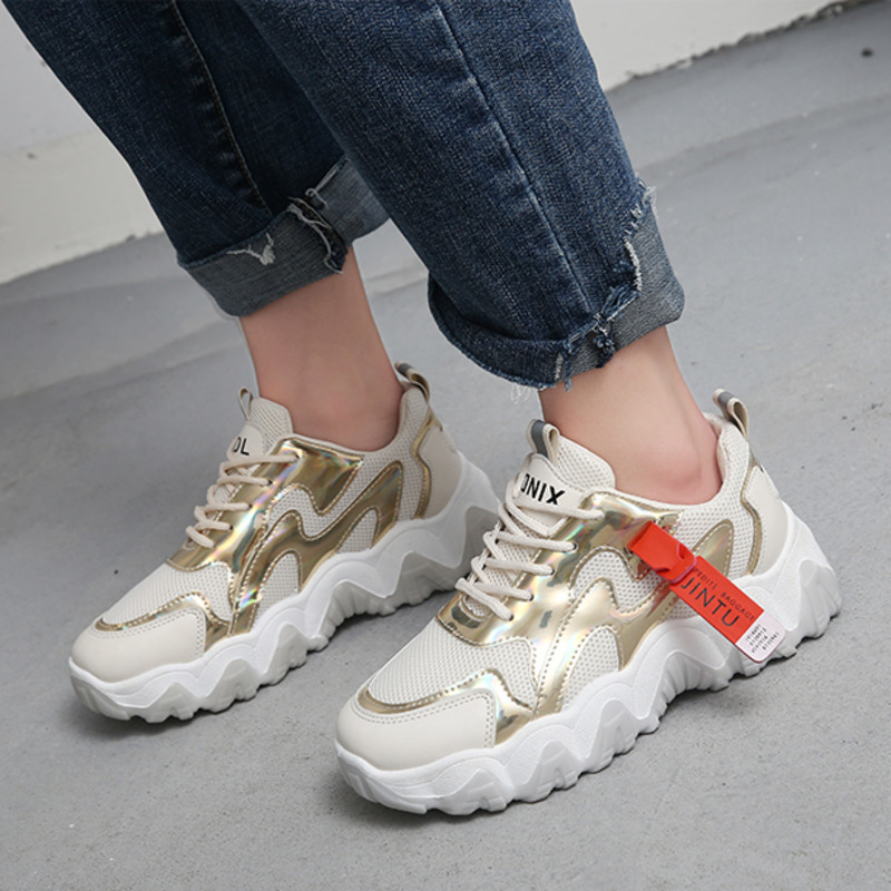 Women Fashion Brand Casual Shoes Spring Chunky Platform Sneakers Designers Lace Up Vulcanized Shoes Female Sports Old Dad Shoes