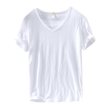 2020 Summer New 100%Cotton T-shirt Male V-neck Solid White Casual T Shirt Men Basic Tee Plus Size Short Sleeve Tops Clothing