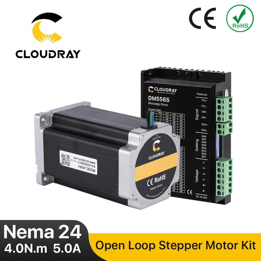 Cloudray Nema 24 Stepper Motor Driver Kit Open Loop 4.0N.m 5A 1.4A-5.6A 18-50VDC for 3D printer CNC Engraving Milling Machine